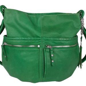 Olivia Harris green leather over the shoulder bag